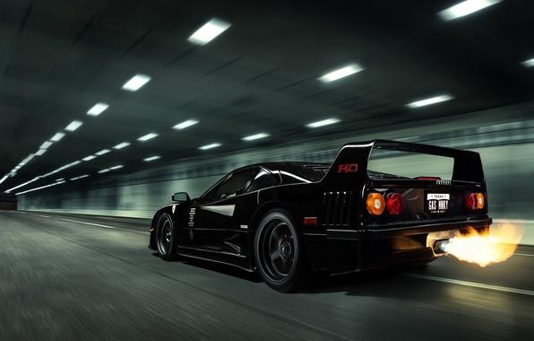 Картинка Черная, Феррари, Ferrari, F40, Пламя, Black, Ф40, Gas Monkey