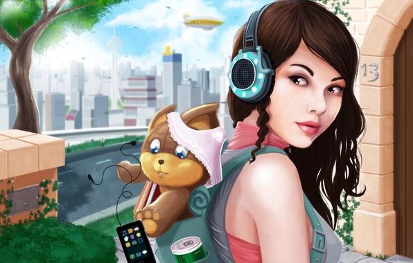 Картинка девушка, город, трусики, собака, наушники, арт, плеер, рюкзак, Ryan Jones