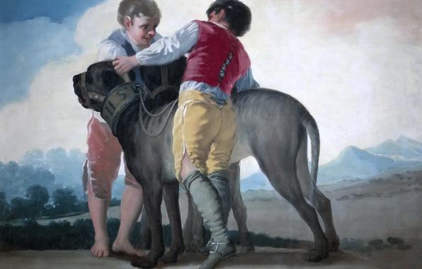 Картинка картина, жанровая, Франсиско Гойя, Дети с Собаками
