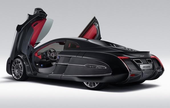 Картинка Concept, фон, McLaren, двери, концепт, суперкар, вид сзади, МакЛарен, спец.заказ, X-1, Икс-1