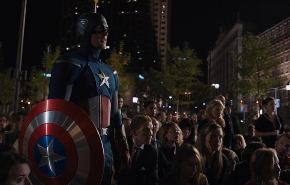 Картинка толпа, костюм, команда, щит, Marvel, Капитан Америка, супергерои, Крис Эванс, Мстители, The Avengers, S.H.I.E.L.D, Щ.И.Т, …