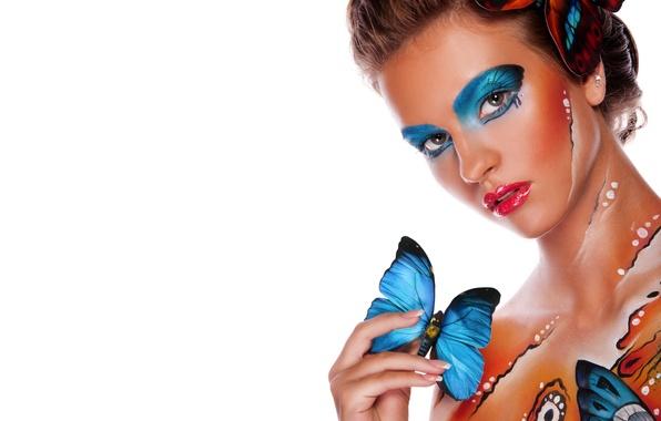 Картинка взгляд, девушка, бабочки, стиль, фон, модель, body art, боди-арт
