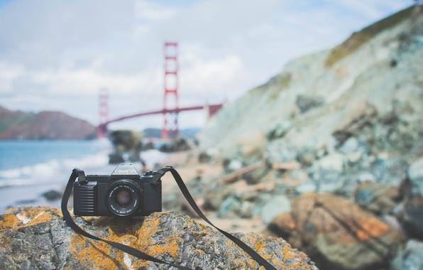 Картинка мост, камни, камера, фотоаппарат, объектив, canon
