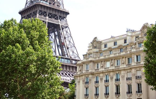 Картинка деревья, город, дом, Франция, Париж, здание, зеленые, Эйфелева башня, Paris, архитектура, France, Eiffel Tower, La …