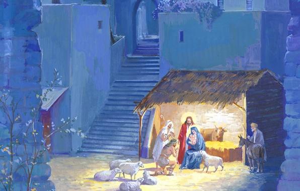 Картинка праздник, рисунок, овцы, рождество, картина, библия, ясли, пастухи
