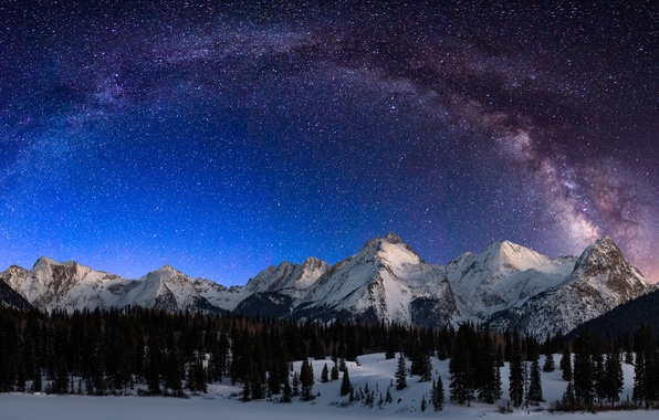 Картинка Landscape, Night, Snow, San, Milky Way, Mountains, Durango, Garfield, Colorado, Range, Lake, Grenadier, Electric, Peak, …