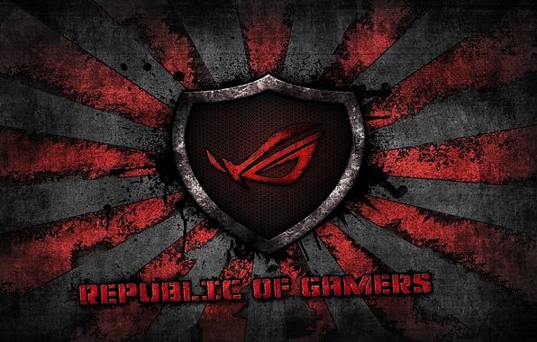 Картинка red, logo, grey, background, brand, asus, rog, republic of gamers, asus gamer, sunburst
