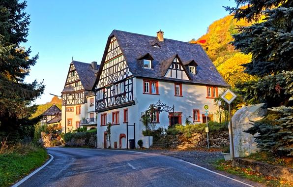 Картинка дорога, осень, солнце, деревья, улица, дома, Германия, холм, Traben-Trarbac