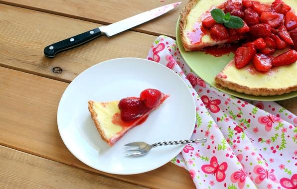 Картинка ягоды, стол, клубника, пирог, посуда, десерт, выпечка