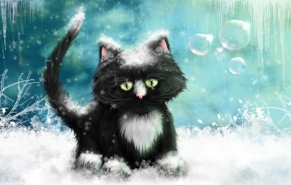 Картинка зима, кот, снег, рисунок, лёд, картина, сосульки, морозы