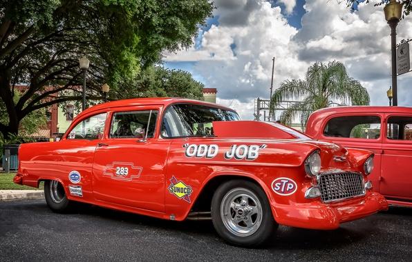 Картинка красный, ретро, Chevrolet, Bel Air, Chevrolet Bel Air
