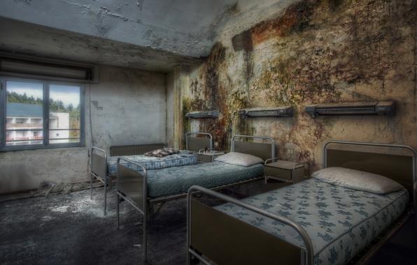 Картинка комната, окно, кровати