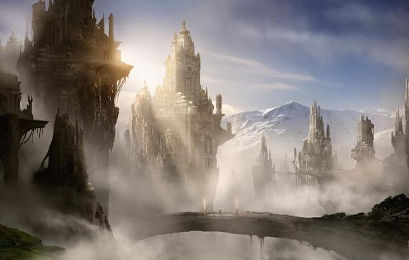 Картинка облака, снег, горы, мост, город, туман, замок, скалы, арт, башни, солнечные лучи