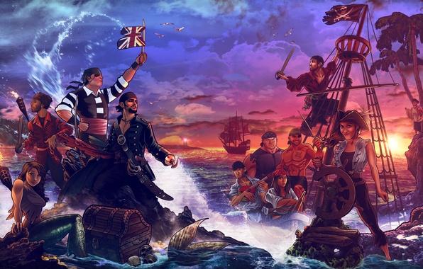 Картинка море, берег, корабль, остров, русалка, пираты, сундук, сокровища