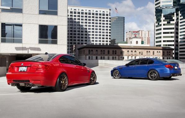 Картинка синий, красный, bmw, бмв, купе, тень, red, седан, вид сзади, f10, e92, mpnte carlo blue