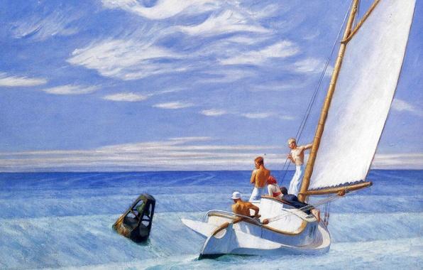 Картинка море, люди, лодка, картина, яхта, парус, Эдвард Хоппер, морской пейзаж, Ground Swell
