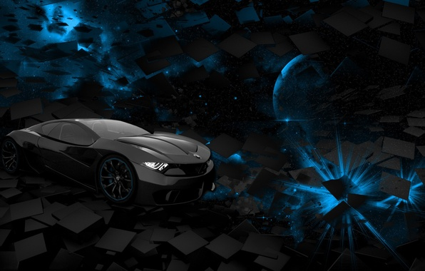 Картинка car, space, black, blue, square, background, planet, rendering