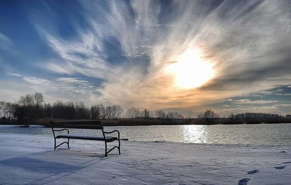Картинка зима, снег, лавка