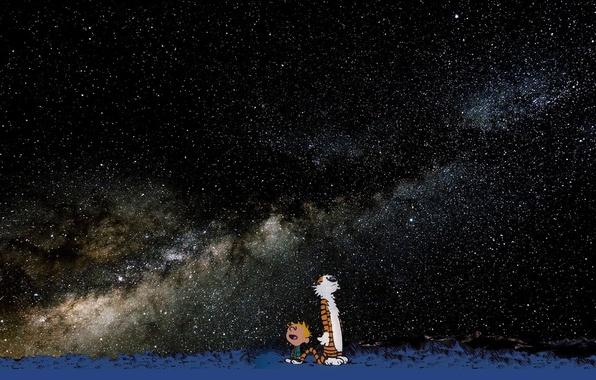 Картинка звезды, тигр, мальчик, Calvin and Hobbes, кельвин и хоббс, гоббс, кальвин