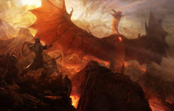 Картинка скалы, дракон, войны, арт, лава, копье, лучник, Dragon's Dogma