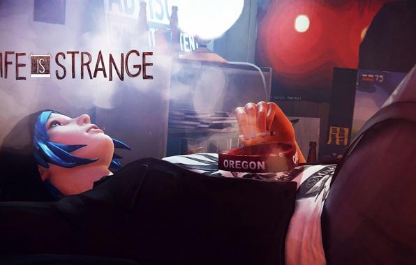 Картинка девушка, комната, игра, сигарета, курит, синие волосы, Life Is Strange