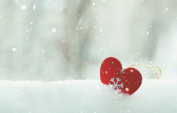 Картинка снег, настроение, сердце
