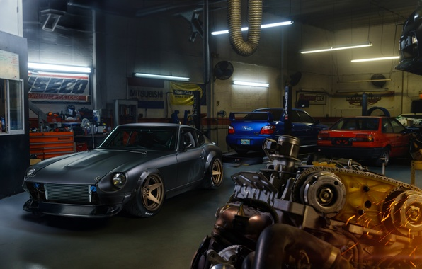 Картинка Front, Wheels, Garage, Project, Engine, ADV.1, 280Z, Dutsun