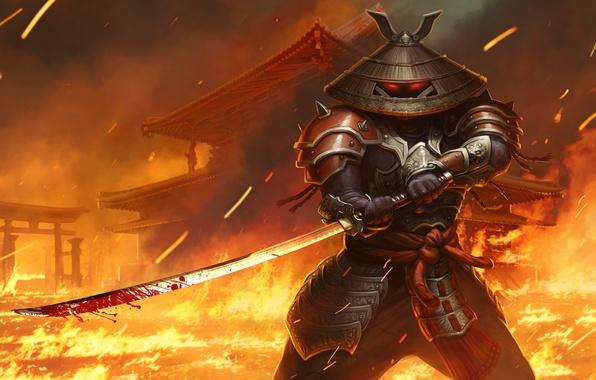 Картинка огонь, меч, катана, шляпа, самурай, juggernaut wars, yasi