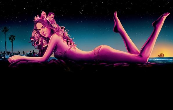 Картинка море, купальник, небо, девушка, звезды, ночь, пальмы, фильм, полиция, фигура, арт, лежит, постер, на берегу, …