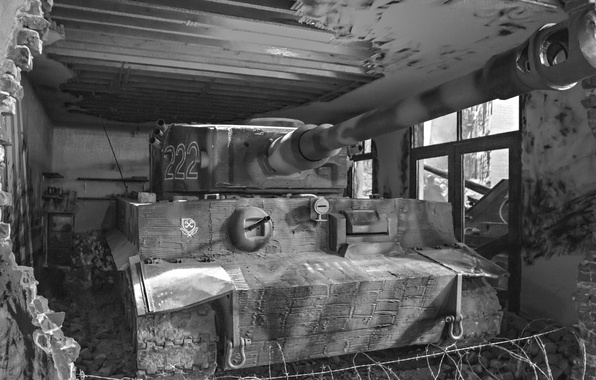Картинка Тигр, развалины, немецкий тяжелый танк, tiger I