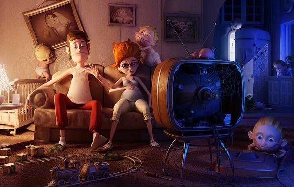 Картинка дети, 150, телевизор, семья