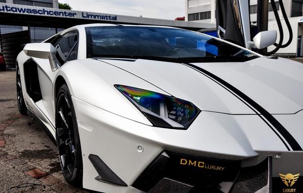 Картинка машина, фары, Lamborghini, суперкар, передок, LP700-4, Aventador, DMC Luxury