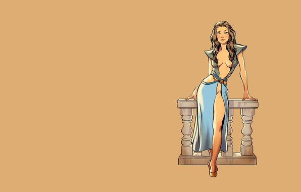 Картинка fantasy, vintage, pinup, minimalism, background, Game of Thrones, tv series, Margaery Tyrell, pinup models