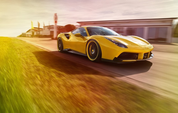 Картинка car, машина, трасса, Ferrari, yellow, speed, track, Rosso, Novitec, 488 GTB