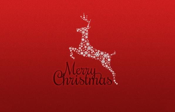 Картинка красный, фон, новый год, рождество, минимализм, олень, праздники, merry christmas