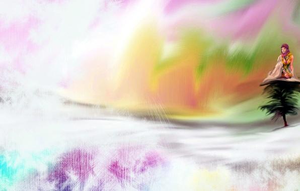 Картинка девушка, стиль, фон, цвет