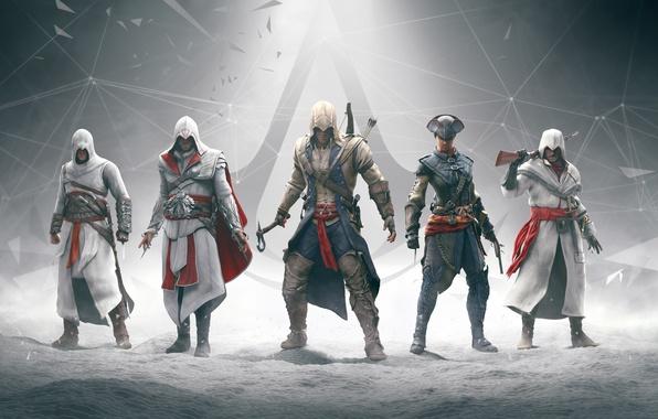 Фото обои оружие, assassins creed, анимус, клинок, эцио, альтаир, убийца, коннор, ubisoft