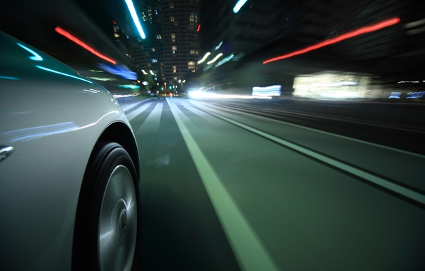Картинка дорога, макро, свет, огни, отражение, полосы, движение, города, разметка, скорость, выдержка, колесо, размытость, диск, автомобиль, …