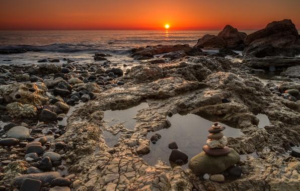 Картинка пляж, солнце, камни, океан, рассвет, горизонт, England, Seaham, Chemical Beach