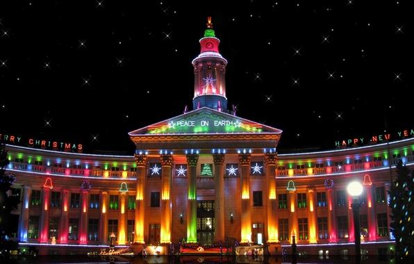 Картинка ночь, город, огни, здание, часы, елки, башня, звёзды, подсветка, Новый год, USA, Happy New Year, …