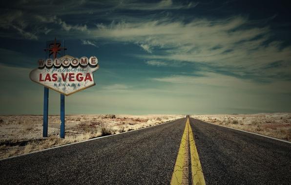 Картинка дорога, машина, небо, облака, природа, фон, widescreen, обои, табличка, трасса, wallpaper, широкоформатные, Las Vegas, background, …
