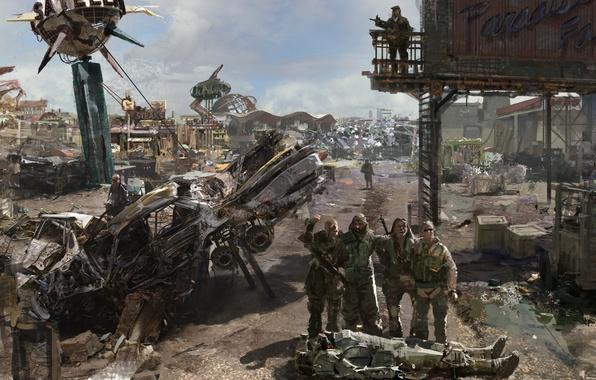 Картинка база, свалка, метал, бочки, Fallout 3, Paradise Falls