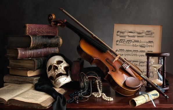 Картинка ноты, скрипка, книги, череп, ожерелье, натюрморт, песочные часы
