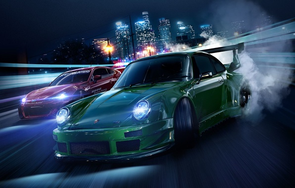 Картинка дорога, машины, ночь, город, огни, фары, тюнинг, дым, скорость, дома, Porsche, Subaru, шины, Need for …