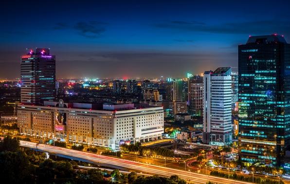 Картинка дорога, ночь, город, огни, здания, дома, небоскребы, выдержка, освещение, подсветка, Китай, Азия, Shanghai, Шанхай, Shanghai ...