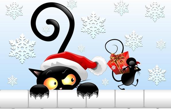 Картинка взгляд, подарок, шапка, новый год, вектор, мышка, хвост, черный кот