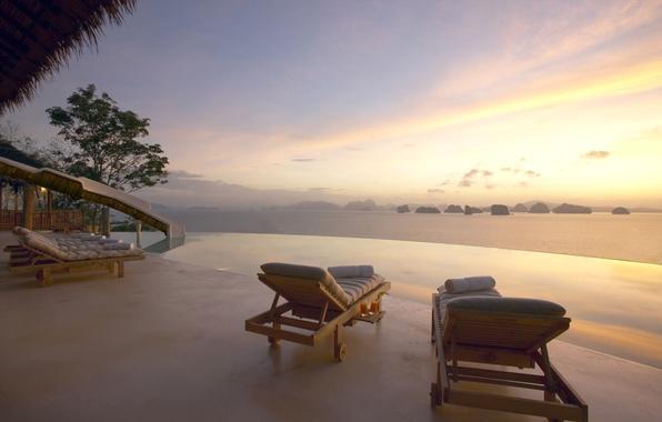 Картинка море, вилла, вид, вечер, relax, залив