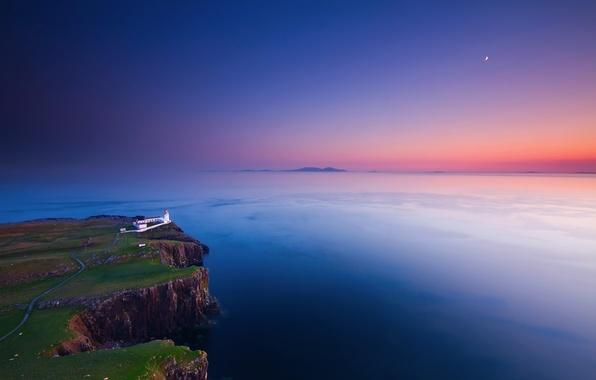 Картинка небо, закат, скалы, луна, берег, маяк, вечер