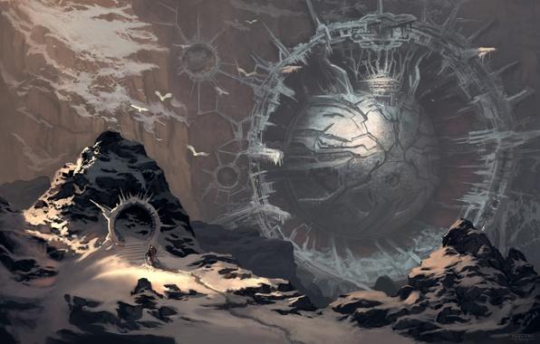 Картинка снег, горы, человек, шар, сооружение, портал, арт, сфера