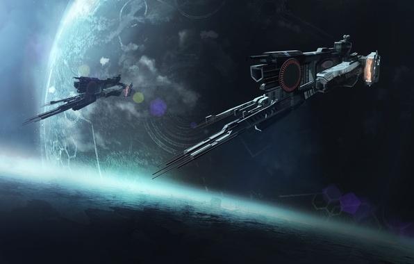 Картинка космос, фантастика, корабль, планета, art, spaceship